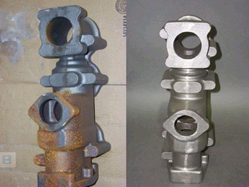 铸件喷砂除锈效果图